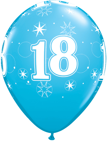 BALLOONS LATEX - 18TH BIRTHDAY ROBINS EGG SPARKLE - PACK 25