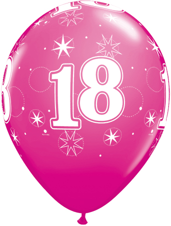 BALLOONS LATEX - 18TH BIRTHDAY WILDBERRY SPARKLE PACK 25