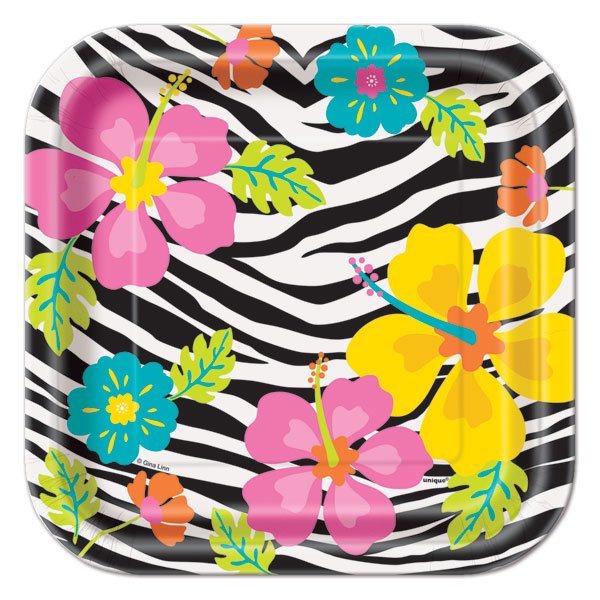 WILD LUAU SQUARE LUNCHEON PLATES - PACK OF 10