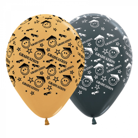 BALLOONS LATEX - GRADUATION SMILEY FACES GOLD & BLACK PACK 25