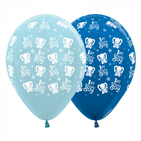 BALLOONS LATEX - 1ST BIRTHDAY BOY ELEPHANTS - PACK OF 25
