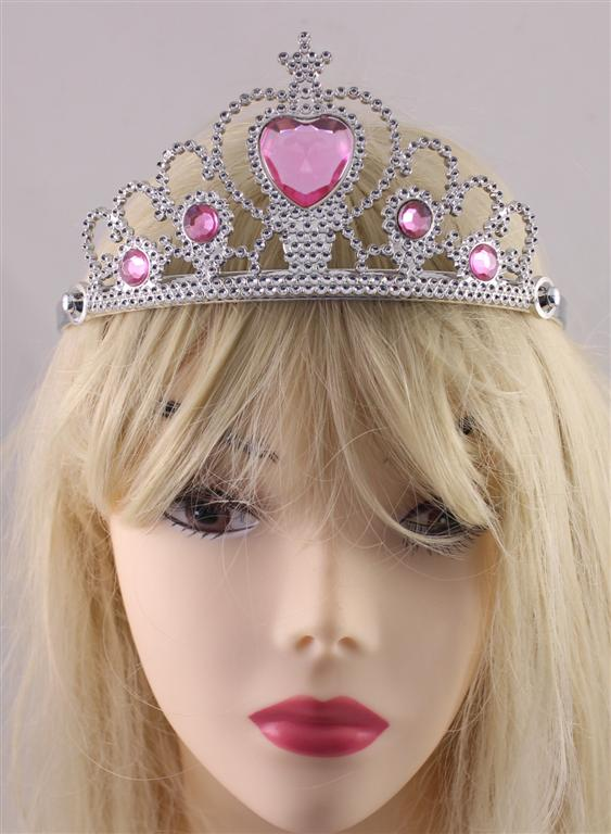TIARA - SILVER WITH PINK HEARL JEWEL