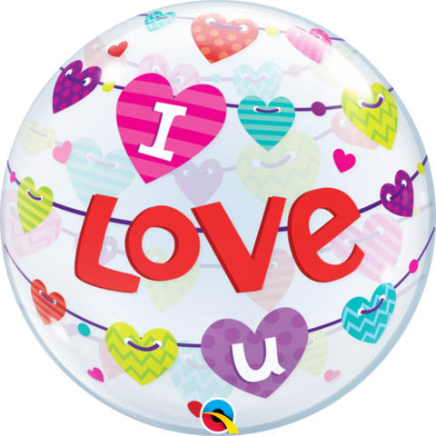BUBBLE BALLOON - I LOVE U BANNER OF HEARTS