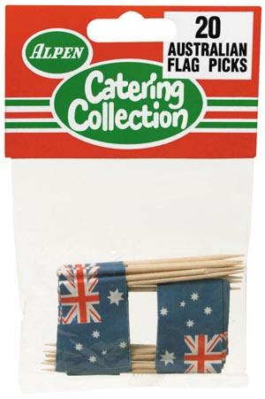 AUSTRALIAN FLAG TOOTH PICKS - PACK 20