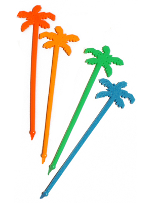 SWIZZLE STICKS PALM TREES - BULK 100 PACK