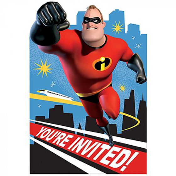 DISNEY INCREDIBLES INVITATIONS PACK OF 8
