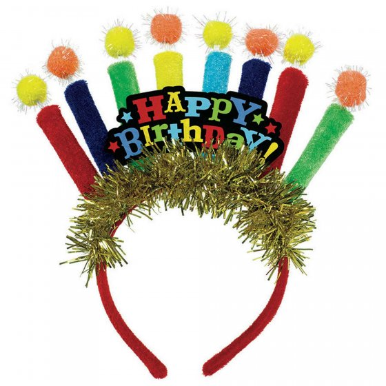 HAPPY BIRTHDAY CANDLE TINSEL HEADBAND - PRIMARY COLOURS
