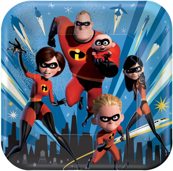 DISNEY INCREDIBLES PARTY DINNER PLATES PACK OF 8