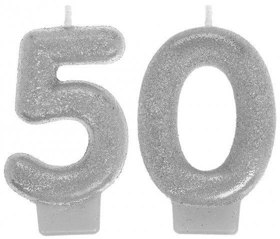 50TH BIRTHDAY CANDLE - SILVER GLITTERED