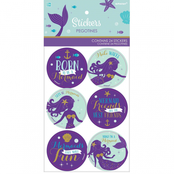 PARTY FAVOURS - MERMAID STICKERS PACK 24