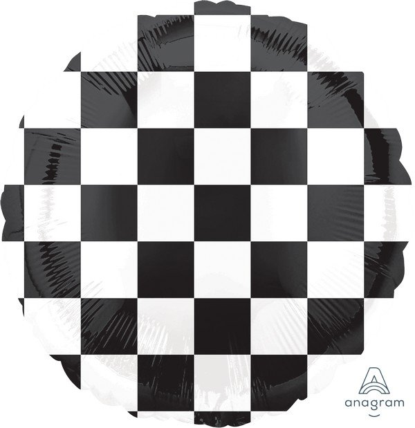 FOIL BALLOON - CHECKERED FLAG 45CM
