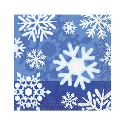 WINTER SNOWFLAKE COCKTAIL NAPKIN PACK OF 16