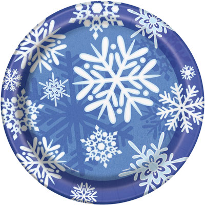 WINTER SNOWFLAKE DINNER PLATES PACK OF 8
