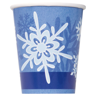 WINTER SNOWFLAKE CUPS - PACK OF 8