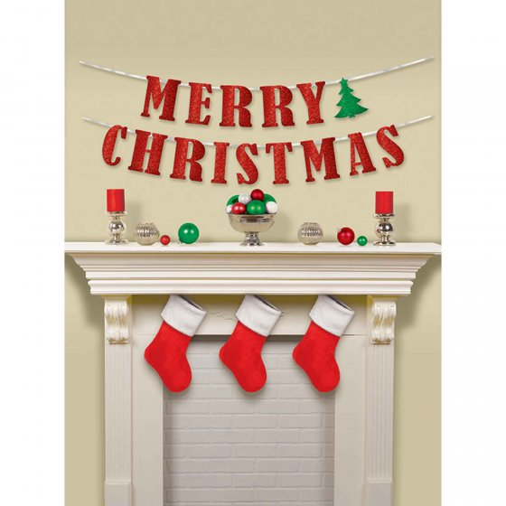 CHRISTMAS RIBBON BANNER WITH GLITTER LETTERS