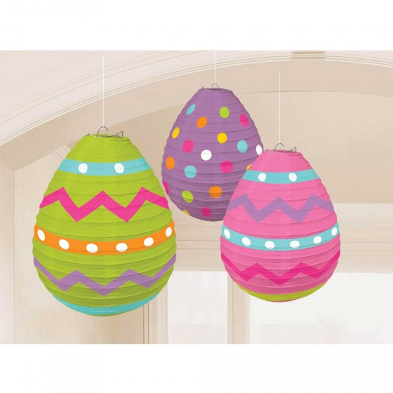 EASTER EGG SHAPED CHINESE HANGING LANTERNS - PACK OF 3