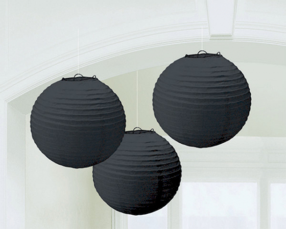 CHINESE PAPER LANTERN 24CM - JET BLACK - SET OF 3