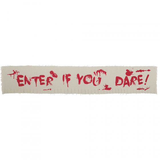 CREEPY CARNIVAL CLOTH BANNER 'ENTER IF YOU DARE'