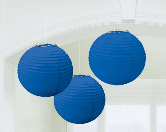 CHINESE PAPER LANTERN 24CM - BRIGHT ROYAL BLUE - SET OF 3