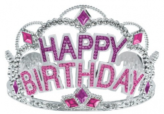 TIARA - SILVER WITH HOT PINK 'HAPPY BIRTHDAY' & JEWELS