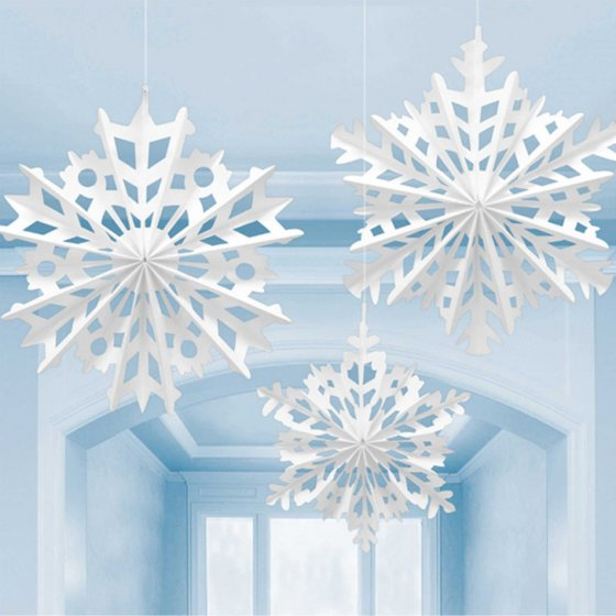 SNOWFLAKE PAPER FAN HANGING DECORATION - SET OF 3