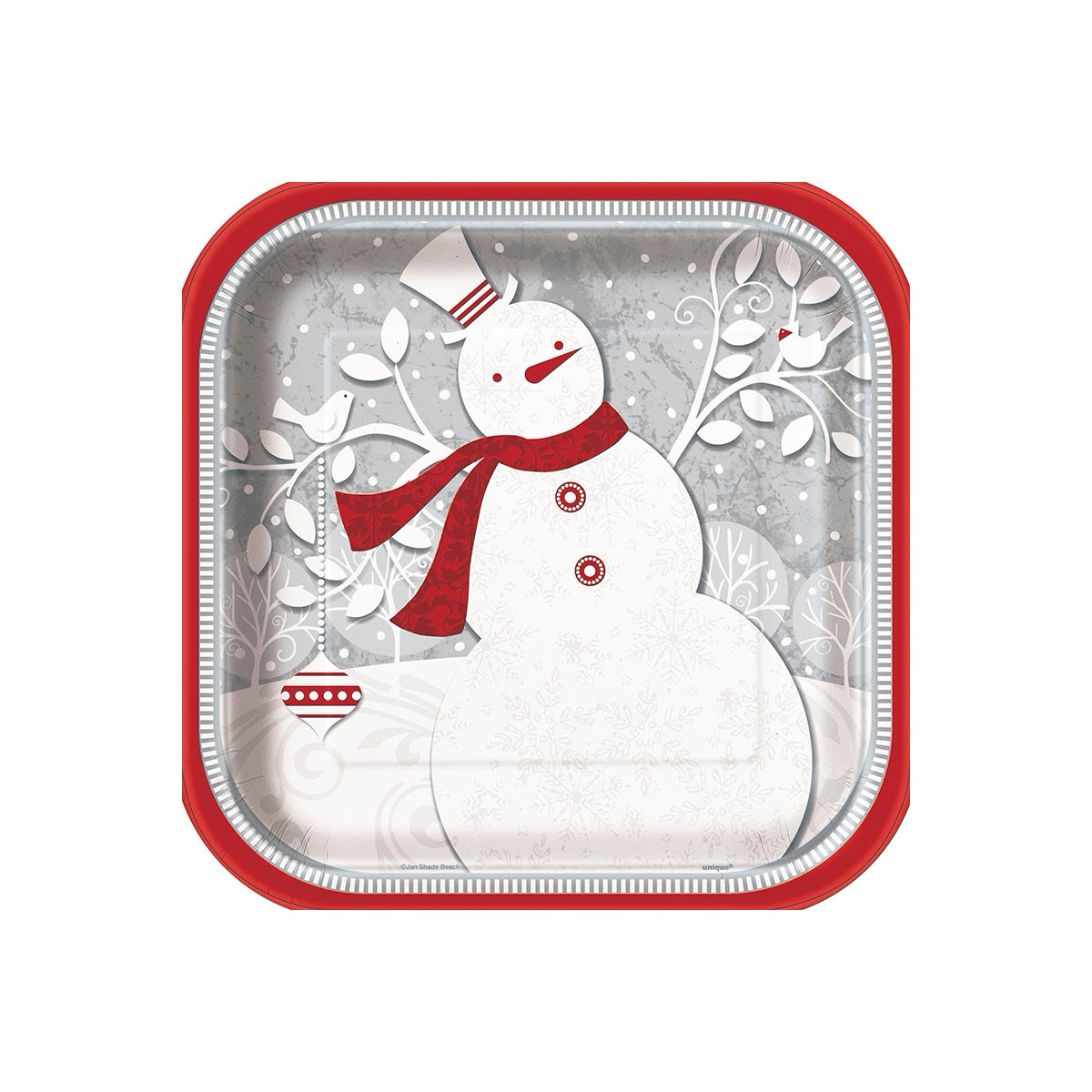 FROSTED CHRISTMAS DINNER PLATES - PACK OF 8