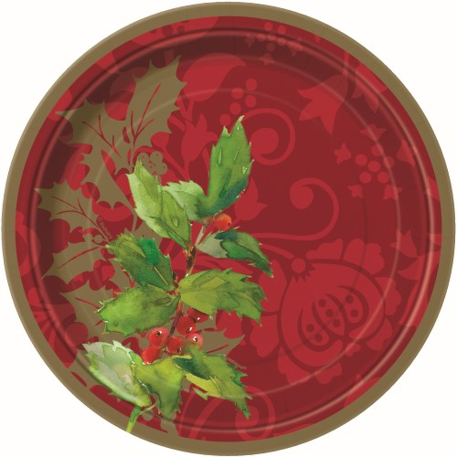 CHRISTMAS HOLLY TRADITION LUNCHEON PLATES - PACK 8