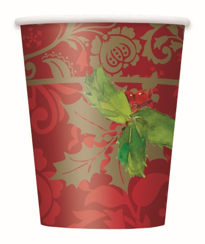 CHRISTMAS HOLLY TRADITION CUPS - PACK 8