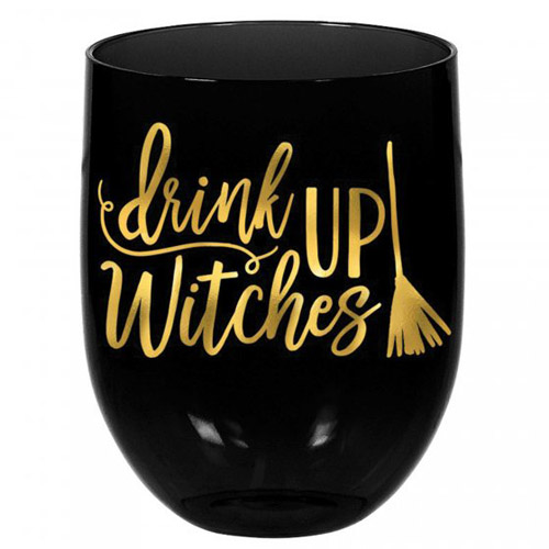 HALLOWEEN 'DRINK UP WITCHES' STEMLESS WINE GLASS