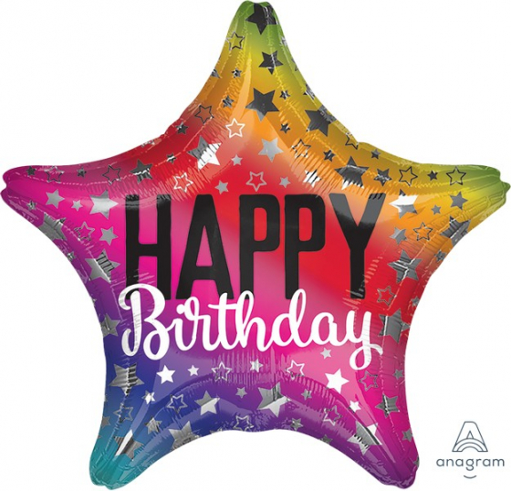 FOIL BALLOON STAR SHAPE - RAINBOW HAPPY BIRTHDAY