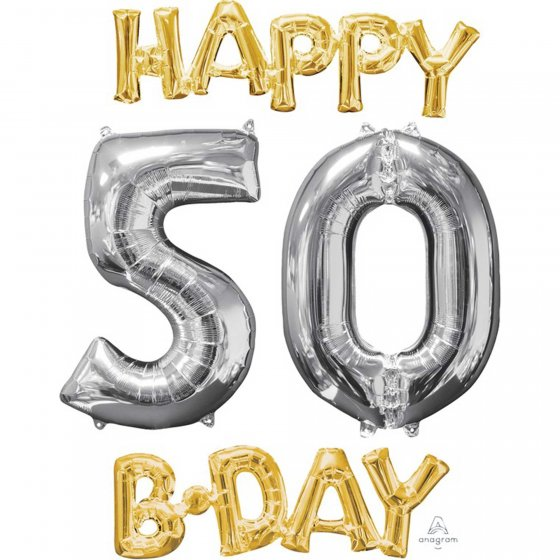 FOIL BALLOON KIT - AIR FILLED 50TH HAPPY BIRTHDAY GOLD & SILVER