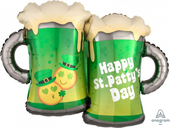 FOIL SUPER SHAPE BALLOON - ST PATRICK'S DAY BEER MUGS