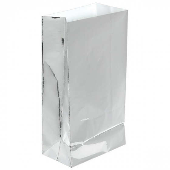 PAPER LOOT BAGS - SILVER FOIL - PACK OF 12