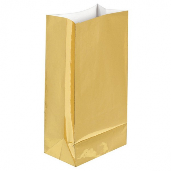PAPER LOOT BAGS - GOLD FOIL - PACK OF 12
