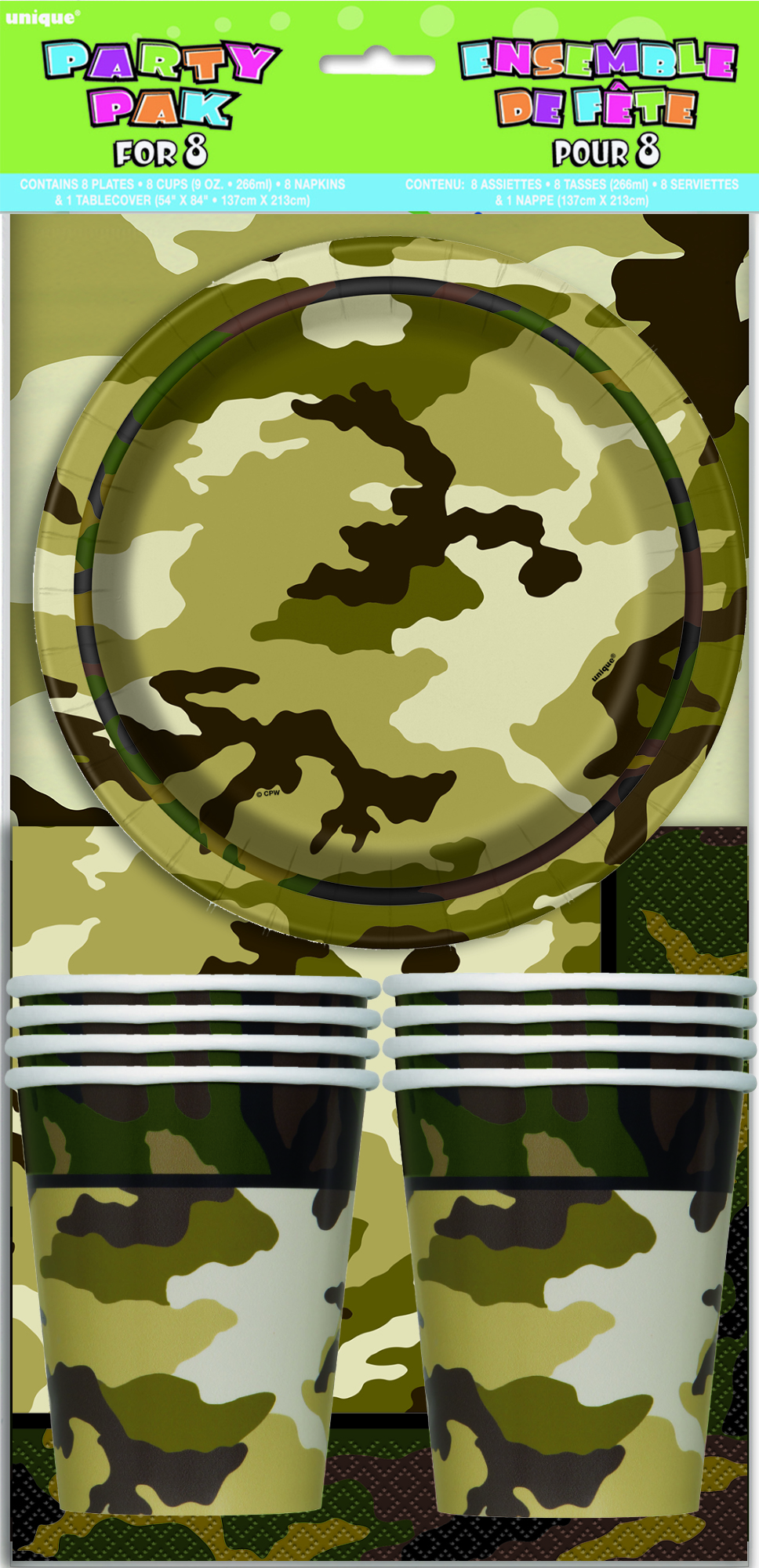 MILITARY CAMOUFLAGE PARTY PACK FOR 8