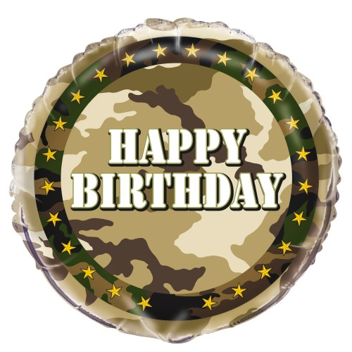 FOIL BALLOON - CAMOUFLAGE \'HAPPY BIRTHDAY\'