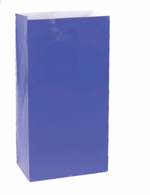 PAPER LOOT BAGS - BRIGHT ROYAL BLUE - PACK OF 12