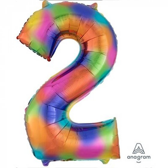 FOIL BALLOON SUPER SHAPE - NUMBER 2 RAINBOW