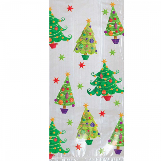 GIFT CELLO BAGS CHRISTMAS TREE DESIGN - PACK 20