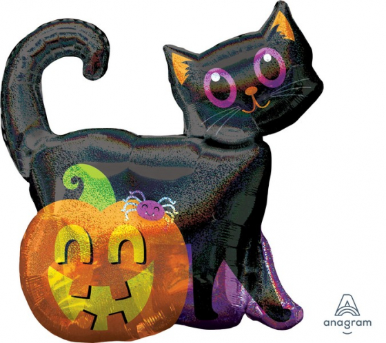 FOIL SUPER SHAPE BALLOON - BLACK CAT & PUMPKIN