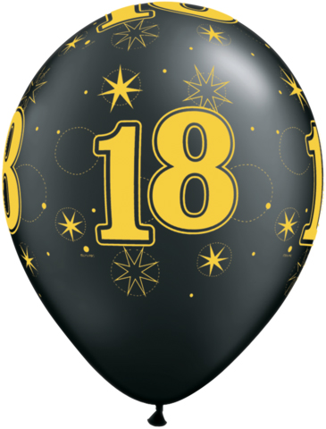 BALLOONS LATEX - 18TH BIRTHDAY BLACK WITH GOLD SPARKLE - PACK 25