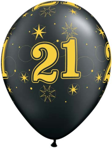 BALLOONS LATEX - 21ST BIRTHDAY BLACK WITH GOLD SPARKLE - PACK 25