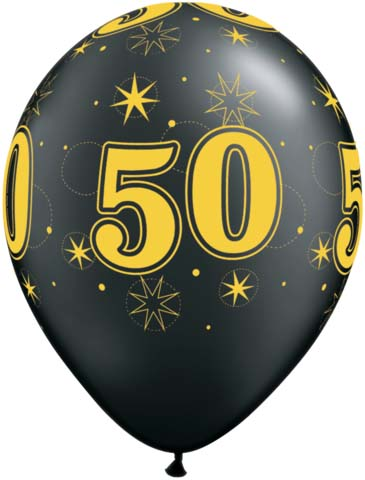 BALLOONS LATEX - 50TH BIRTHDAY BLACK WITH GOLD SPARKLE - PACK 6