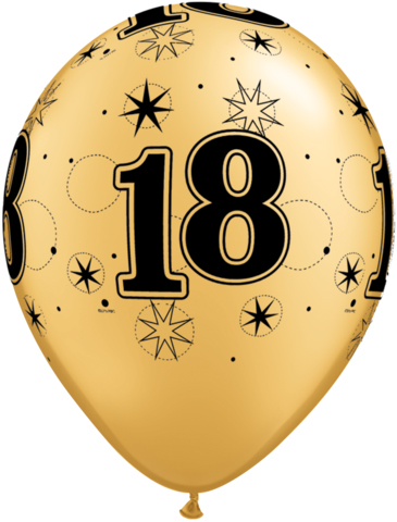 BALLOONS LATEX - 18TH BIRTHDAY GOLD WITH BLACK SPARKLE - PACK 25