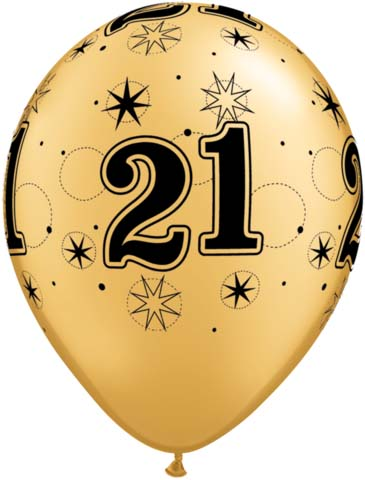 BALLOONS LATEX - 21ST BIRTHDAY GOLD WITH BLACK SPARKLE - PACK 6