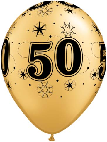 BALLOONS LATEX - 50TH BIRTHDAY GOLD WITH BLACK SPARKLE - PACK 25