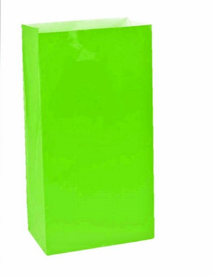 PAPER LOOT BAGS - LIME - PACK OF 12