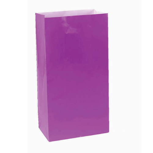 PAPER LOOT BAGS - PURPLE - PACK OF 12