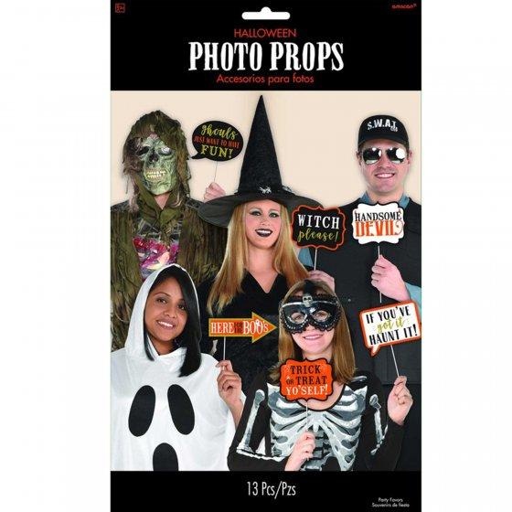 SELFIE PHOTO BOOTH PROPS - HALLOWEEN FUN SIGNS PACK OF 13