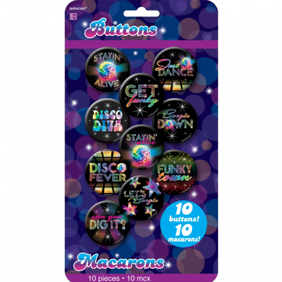1970'S DISCO BUTTONS IN ASSORTED DESIGNS - PACK OF 10